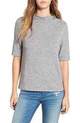 Leith Women's Knit Funnel Neck Tee Grey Cloudy Heather