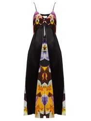 Christopher Kane Pansy Print Silk Crepe Slip Dress Black Multi