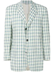 Versace Vintage Plaid Creased Blazer White