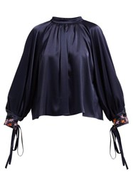 Osman Floral Bead Embroidered Satin Blouse Navy Multi