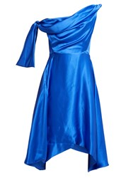 Vivienne Westwood Butternut Draped Asymmetric Silk Dress Blue