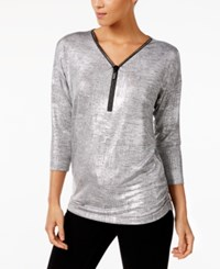 Jm Collection Petite Metallic Zip Neck Top Created For Macy's Silver Disco Dot