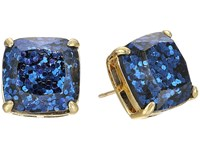 Kate Spade Small Square Studs Navy Glitter Earring