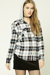 Forever 21 Hooded Plaid Flannel Shirt Cream Brown