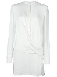Dkny Draped Front Satin Blouse White