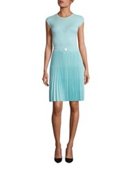 Versace Short Sleeve Pleated Skirt Dress Bluette