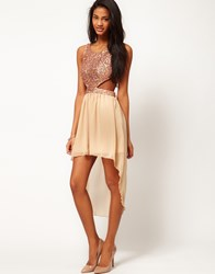 Rare Sequin Cut Out Dress With Chiffon Hi Lo Skirt Pink