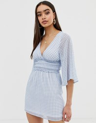 Fashion Union Plunge Front Dress In Gingham Blue