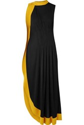 Givenchy Two Tone Pleated Stretch Crepe Gown Black