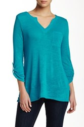 Cable And Gauge Split Neck Linen Blend Tee Green