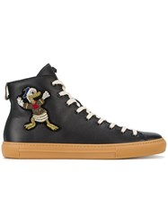 Gucci Donald Duck Hi Top Sneakers Men Leather Rubber 9 Black