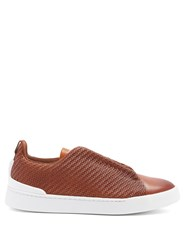 Ermenegildo Zegna Triple Stitch Low Top Leather Trainers Brown Multi
