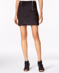 Kensie Faux Suede Zip Detail Mini Skirt Black