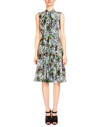 Erdem Sleeveless Tie Neck Floral Print Dress Light Blue Multi Women's Light Blue Multi