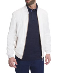 Stefano Ricci Silk Contrast Piping Bomber Jacket White