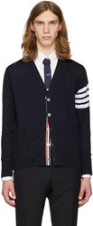Thom Browne Navy Classic V Neck Cardigan