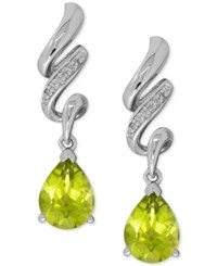 Macy's Peridot 2 1 2 Ct. T.W. And Diamond Accent Twist Drop Earrings In Sterling Silver