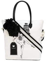 Twin Set Shopping Girl Print Bag White