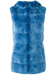 Liska Hooded Mink Fur Gilet Blue