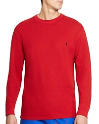 Polo Ralph Lauren Waffle Knit Long Sleeve Lounge Top Franklin Red