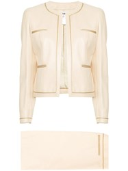 Chanel Vintage Tweed Two Piece Suit Nude And Neutrals