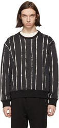 3.1 Phillip Lim Black And White Painted Stripes Sweatshirt