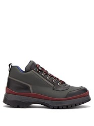 Prada Brixxen Leather Trim Twill Trainers Grey Multi