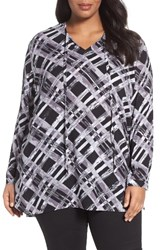 Sejour Plus Size Women's Tie Neck Tunic Black White Plaid Print