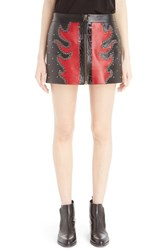 Anthony Vaccarello Women's 'Fire Bicolore' Leather Miniskirt