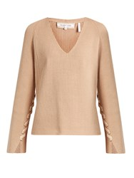 Helmut Lang Lace Sleeve V Neck Wool And Cashmere Blend Sweater Beige