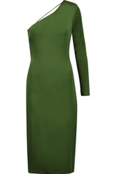 Cushnie Et Ochs One Shoulder Open Back Stretch Satin Midi Dress Green