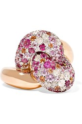 Pomellato Tango 18 Karat Rose Gold Multi Stone Ring Rose Gold Pink