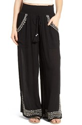 Band Of Gypsies Women's Embroidered Wide Leg Pants