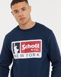 Schott Logo Sweat In Navy