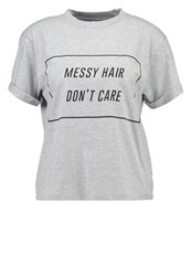 Mbym Don't Care Print Tshirt Light Grey Melange