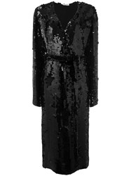 Attico Belted Sequin Duster Coat Black