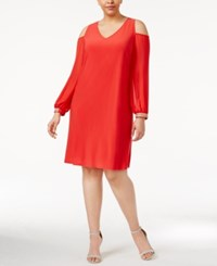 Msk Plus Size Cold Shoulder Shift Dress Winter Coral