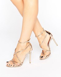 Office Spindle Rose Gold Mirror Strappy Heeled Sandals Rose Gold Mirror Pu