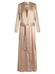 Galvan Silk Satin Trench Coat Light Pink