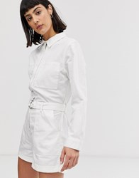 Weekday Belted Boiler Playsuit With Pockets In White