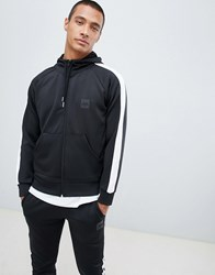 Hype Hoodie In Black Poly With Side Stripe