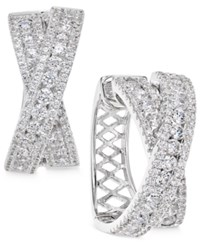 Arabella Swarovski Zirconia Crisscross Hoop Earrings In Sterling Silver Only At Macy's