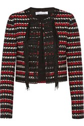 Oscar De La Renta Cropped Embellished Wool And Cotton Blend Jacket Red