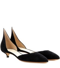 Francesco Russo Suede Kitten Heel Pumps Black