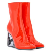 Fenty By Rihanna Patent Leather Ankle Boots Orange