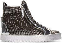 Giuseppe Zanotti Black And Silver Croc Embossed High Top London Sneakers