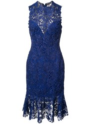 Monique Lhuillier Lace Dress Blue