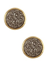 Rivka Friedman 18K Gold Clad Round Platinum Druzy Stud Earrings Metallic
