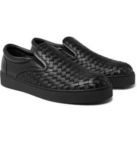 Bottega Veneta Dodger Intrecciato Leather Slip On Sneakers Black