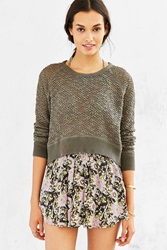 Ecote Open Stitch Sweater Khaki